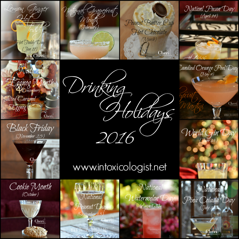 Happy New Year! It's time for the annual Drinking Holidays 2016 calendar. Are you ready to start another year of holiday fun? I am! Every day is a drinking holiday opportunity. It's all about putting a creative spin to the holiday in question.