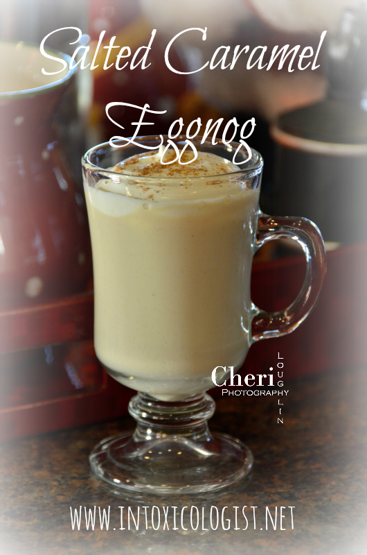 Maker's 46 #GetCozyCocktail Eggnog Challenge. This Salted Caramel Eggnog is rich and creamy with gentle spice flavor. It is full of rich pumpkin spice, but not actual pumpkin.