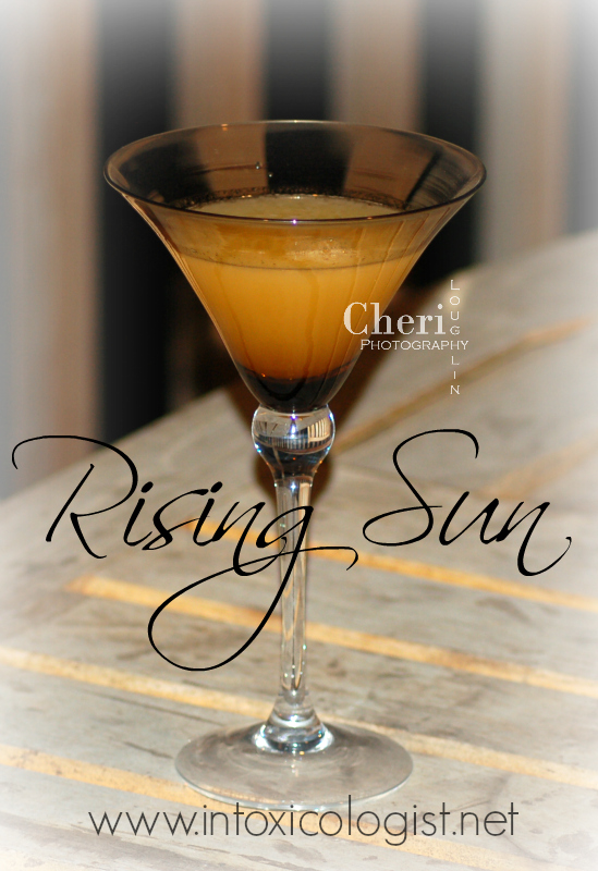 """Rising Sun cocktail with (ri)1: (ri)1, pronounced """"rye one"""", is not only impressive in stature with its sleek bottling, but better yet it is remarkable in taste. This rye carries with it the feel of modern, cutting edge sophistication while maintaining the classic rye whiskey tradition."""