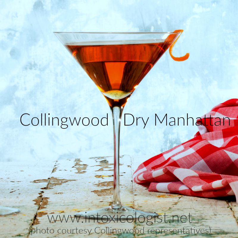 Collingwood Canadian Whisky contains light vanilla sweetness with rich nutty fruitcake feel. Try it in this easy to make Dry Manhattan.