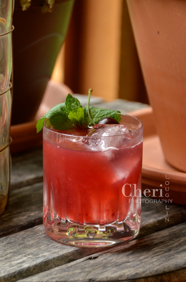 Fresh Cherry Smash bourbon cocktail perfect for summer sipping
