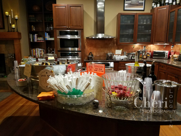 Drink station with everything from wine and spirits to alcohol free choices.