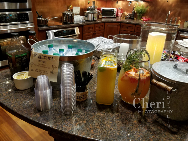 Provide a wide variety of alcohol-free choices for guests. Paloma Fizz, Pineapple Ginger Fizz, water, tea, coffee and non-alcohol Hot Toddy were on the menu.